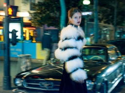 Dress: Yanina. Fur coat: Alice+Oliva. Boots: Kenzo. Lipstick: MAC