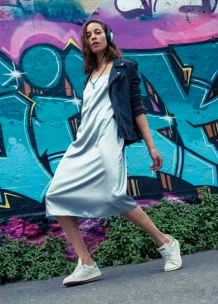 Lamb Leather Jacket The Kooples, Dress Aika Alemi Earring H&M, Shoes Adidas Stan Smith