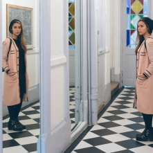 With the mirrors of the corridor.