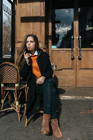 Actress Madeleine Pougatch at canal st. martin.